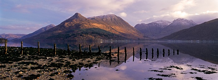 The Pap of Glencoe, Loch Leven. February 2007. Hasselblad XPan 45mm.