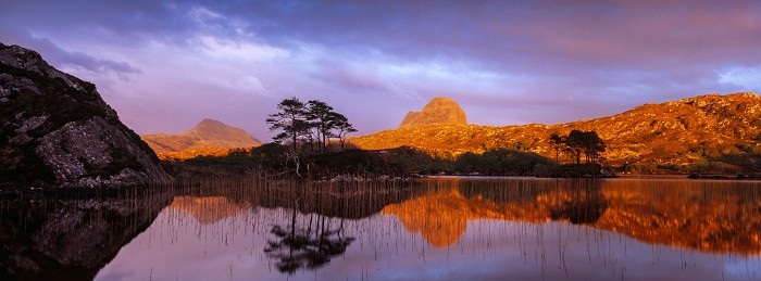 Canisp and Suilven. Loch Druim Suardalain. Hasselblad 45mm. May 2014.